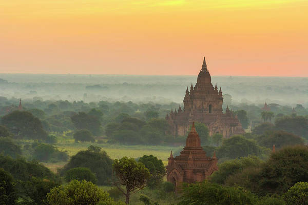 Bagan Photograph - Myanmar Bagan Smoke From Cooking Fires by Inger Hogstrom