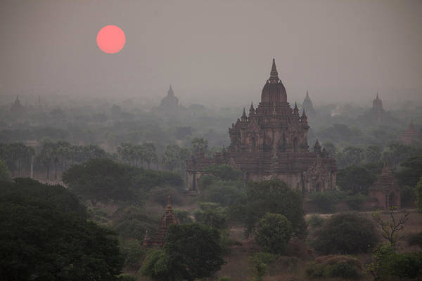 Jim Temple Photograph - Myanmar, Bagan Sunrise On Buddhist by Jaynes Gallery