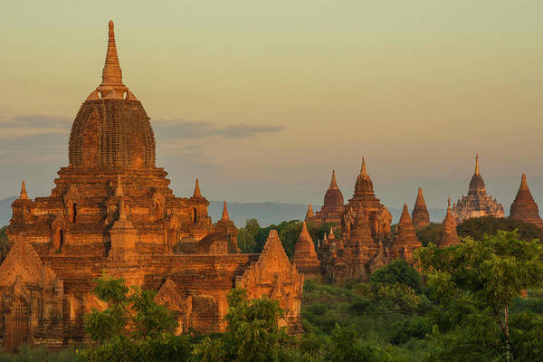 Bagan Photograph - Myanmar Bagan Sunrise Over The Temples by Inger Hogstrom