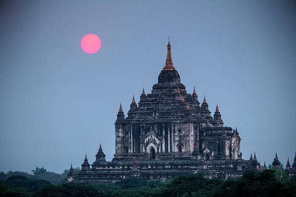Bagan Photograph - Myanmar, Bagan Sunset On Thatbyinnyu by Jaynes Gallery