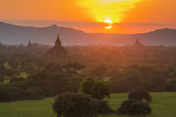 Bagan Photograph - Myanmar Bagan Temples Of Bagan At Sunset by Inger Hogstrom