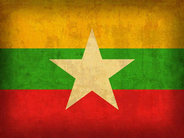 Burma Wall Art - Mixed Media - Myanmar Burma Flag Vintage Distressed Finish by Design Turnpike