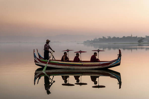 Photograph - Myanmar, Monks In Boat At Ubein Bridge by Martin Puddy