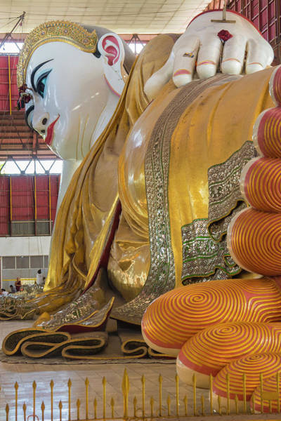 Giant Buddha Photograph - Myanmar Yangon Chauk Htat Gyi Pagoda by Inger Hogstrom