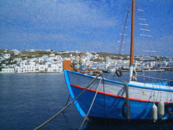 Painting - Mykonos Harbor Grk9595 by Dean Wittle