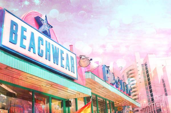 Neon Pink Photograph - Myrtle Beach Ocean Beach Coastal South Carolina Beach Signs  by Kathy Fornal