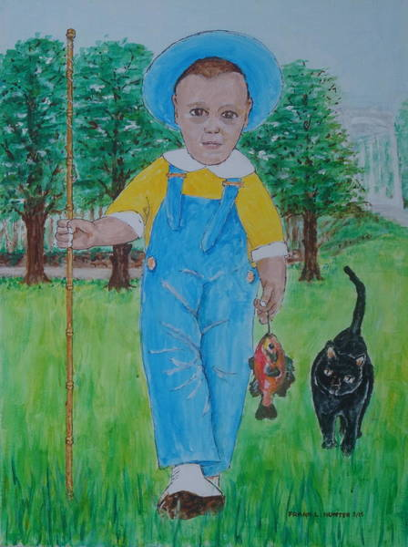 Painting - Myself With Fish And Cat by Frank Hunter