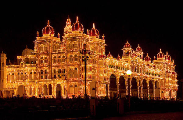 Karnataka Photograph - Mysore Palace At Night by Dethan Punalur