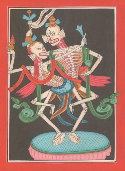 Wall Art - Painting - Mysterious Art Thanka Nepal Painting Dance Od Shiva Shakti Folk Traditional India  by A K Mundhra