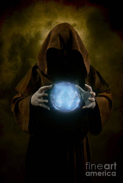 Photograph - Mystery Man Wearing Cloak With Hood And Blue Glowing Crystal Ball Between His Hands by Jaroslaw Blaminsky