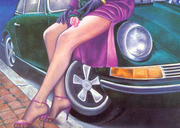 Painting - Mystery On Peter's Porsche by Mary Ann Leitch