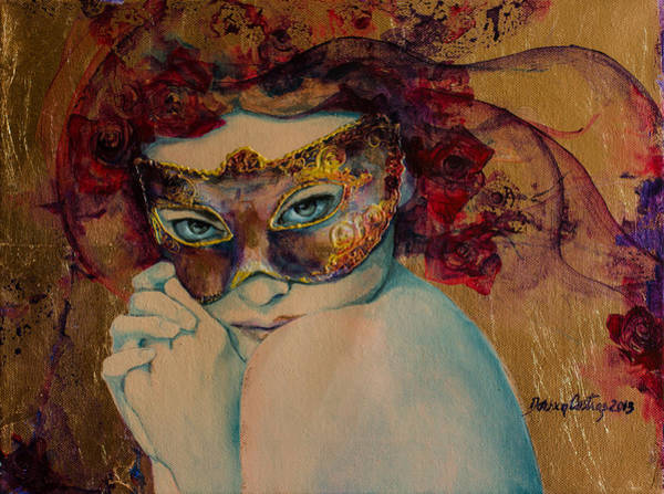 Mask Painting - Mystery Roses by Dorina  Costras