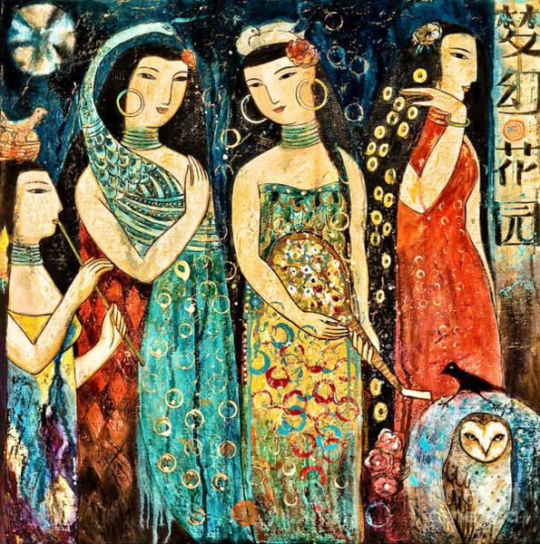 Peacocks Painting - Mystic Garden by Shijun Munns