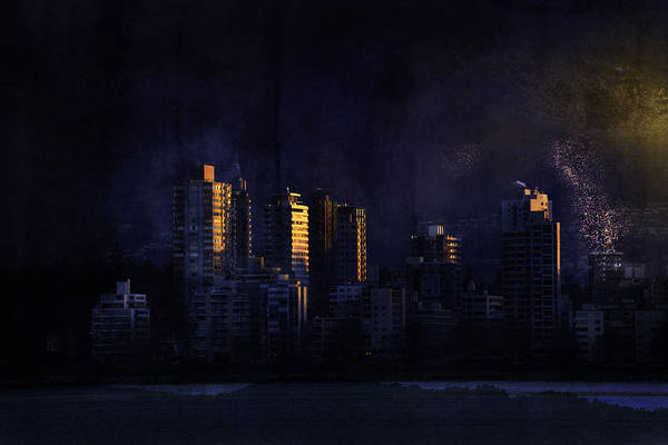 Vancouver Mixed Media - Mystic Orange Glowing Sunrise On Vancouver   by Peter v Quenter
