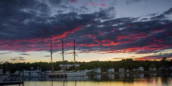 Photograph - Mystic River Burning Sunset by Kirkodd Photography Of New England