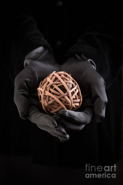Black Magic Woman Wall Art - Photograph - Mystical Hands Holding A Woven Ball by Edward Fielding