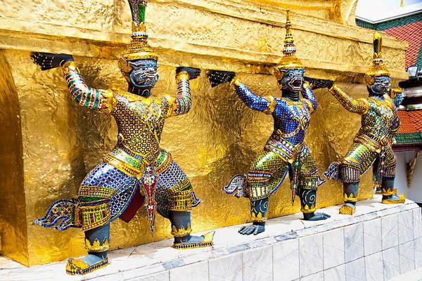 Giant Buddha Photograph - Mythical Figures In Bangkok by David Smith