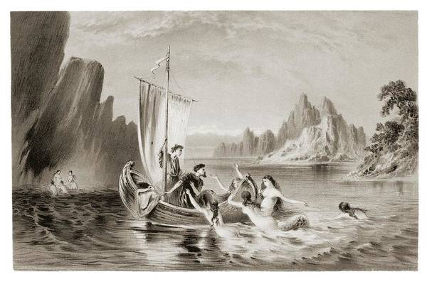 Oceanic Photograph - Mythical Sirens Seducing Sailors. by David Parker/science Photo Library
