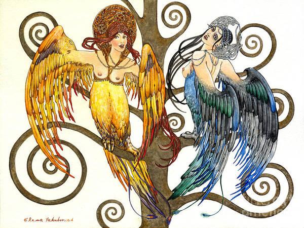 Wall Art - Painting - Mythological Birds-women Alconost And Sirin- Elena Yakubovich  by Elena Yakubovich