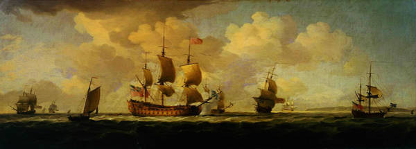 Painting - A Flagship Before The Wind With Other Vessels by Charles Brooking