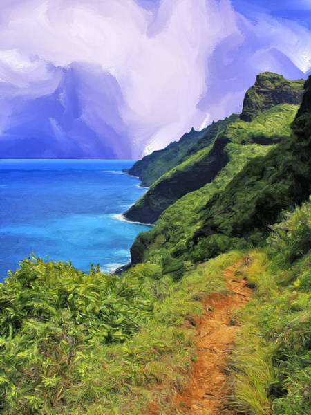 Kalalau Trail Wall Art - Painting - Na Pali Coast From The Kalalau Trail by Dominic Piperata