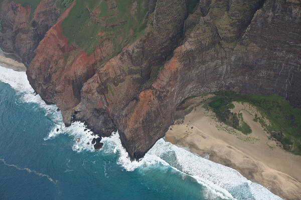Photograph - Na Pali Coastal Surf Kauai Aerial by Steven Lapkin