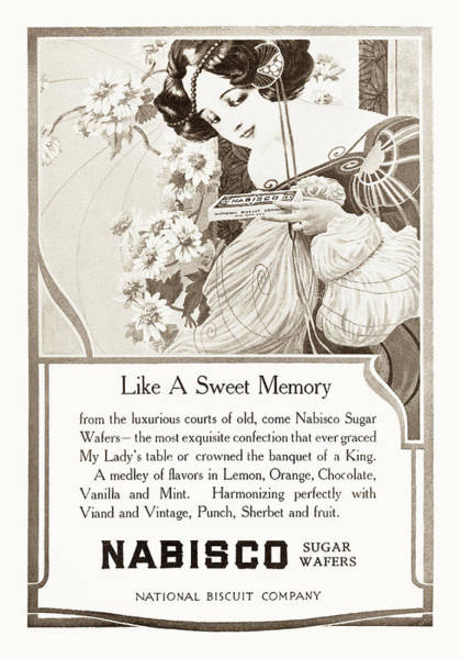 Nabisco Drawing - Nabisco Sugar Wafers 1904 Advertisement by Vintage Product Ads