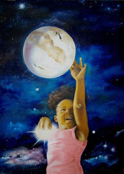 Seek Painting - Nadhah Pluto And The Stars by Charon Rothmiller