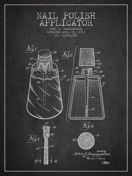 Manicure Wall Art - Digital Art - Nail Polish Applicator Patent From 1963 - Dark by Aged Pixel