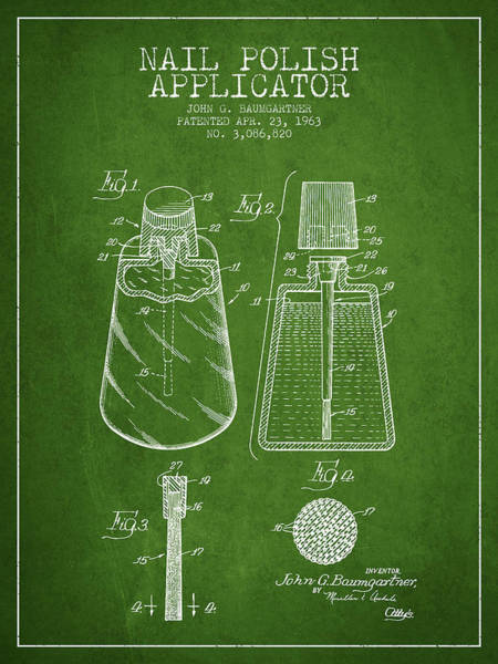 Manicure Wall Art - Digital Art - Nail Polish Applicator Patent From 1963 - Green by Aged Pixel