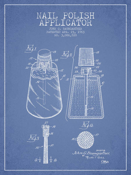 Manicure Wall Art - Digital Art - Nail Polish Applicator Patent From 1963 - Light Blue by Aged Pixel