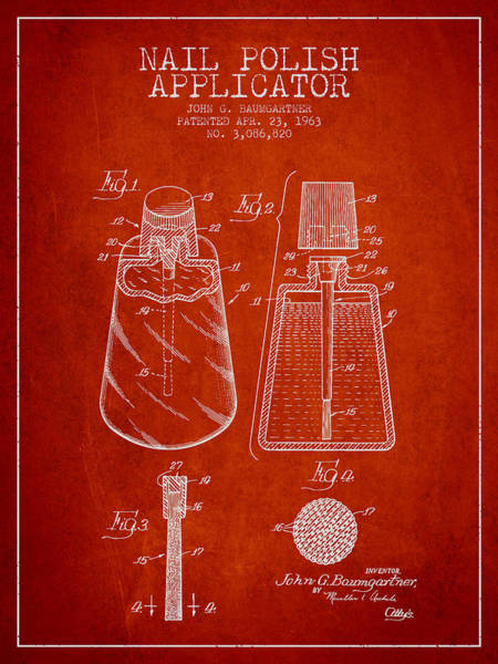 Manicure Wall Art - Digital Art - Nail Polish Applicator Patent From 1963 - Red by Aged Pixel