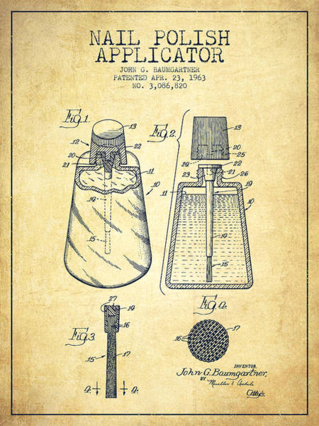 Manicure Wall Art - Digital Art - Nail Polish Applicator Patent From 1963 - Vintage by Aged Pixel
