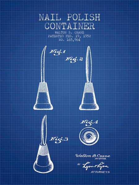 Manicure Wall Art - Digital Art - Nail Polish Container Patent From 1952 - Blueprint by Aged Pixel