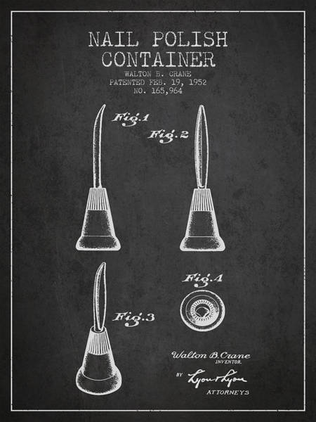 Manicure Wall Art - Digital Art - Nail Polish Container Patent From 1952 - Charcoal by Aged Pixel