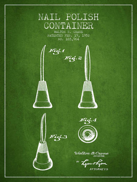 Manicure Wall Art - Digital Art - Nail Polish Container Patent From 1952 - Green by Aged Pixel