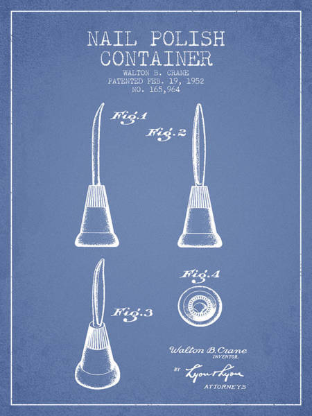 Manicure Wall Art - Digital Art - Nail Polish Container Patent From 1952 - Light Blue by Aged Pixel