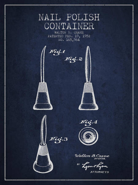 Manicure Wall Art - Digital Art - Nail Polish Container Patent From 1952 -navy Blue by Aged Pixel