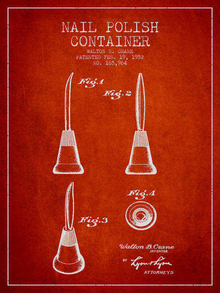 Manicure Wall Art - Digital Art - Nail Polish Container Patent From 1952 - Red by Aged Pixel
