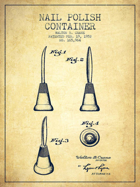Manicure Wall Art - Digital Art - Nail Polish Container Patent From 1952 - Vintage by Aged Pixel