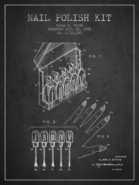 Manicure Wall Art - Digital Art - Nail Polish Kit Patent From 1955 - Charcoal by Aged Pixel
