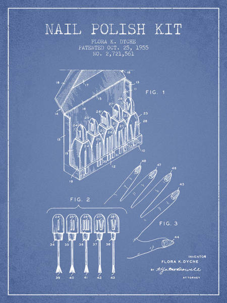 Manicure Wall Art - Digital Art - Nail Polish Kit Patent From 1955 - Light Blue by Aged Pixel