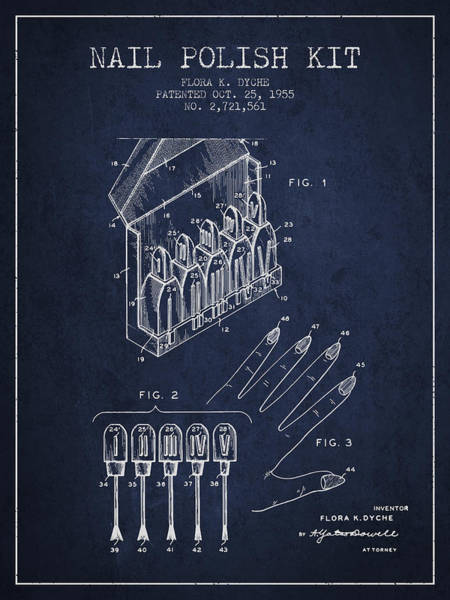 Manicure Wall Art - Digital Art - Nail Polish Kit Patent From 1955 - Navy Blue by Aged Pixel