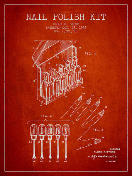 Manicure Wall Art - Digital Art - Nail Polish Kit Patent From 1955 - Red by Aged Pixel