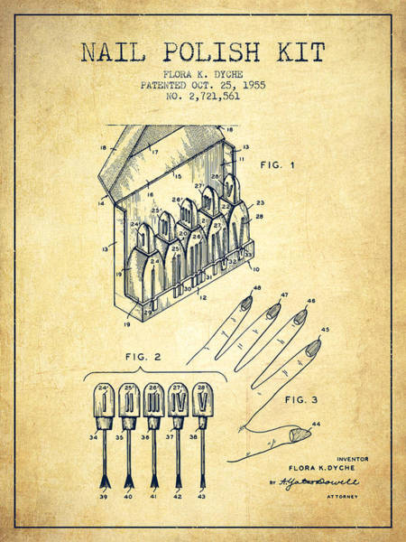 Manicure Wall Art - Digital Art - Nail Polish Kit Patent From 1955 - Vintage by Aged Pixel