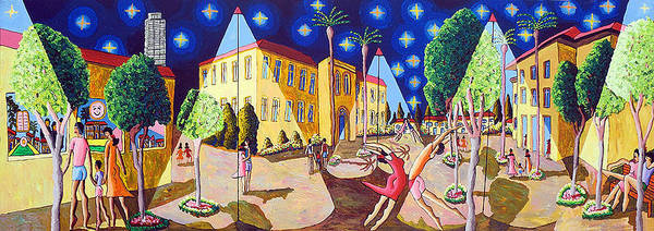 Wall Art - Painting - Naive Paintings By Raphael Perez Starry Night After Van Gogh Goch  by Raphael Perez