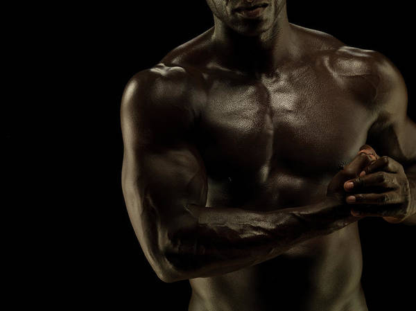 Toughness Photograph - Naked Athletic Male,detail Muscular by Jonathan Knowles