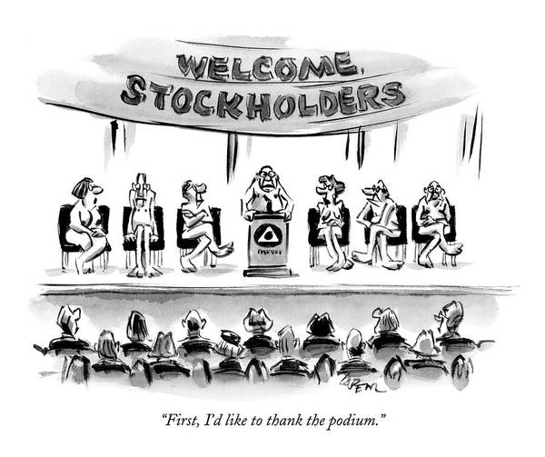 Speaker Drawing - Naked Speakers On Stage At Stockholders Meeting by Lee Lorenz