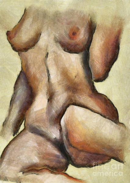 Wall Art - Digital Art - Naked Woman Body - Torso by Michal Boubin