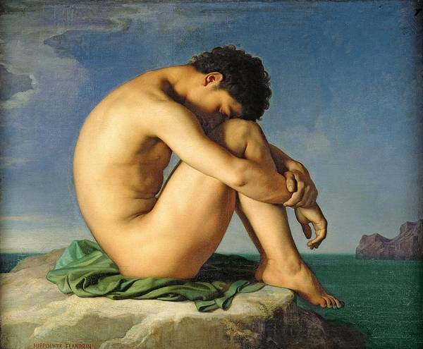 Wall Art - Photograph - Naked Young Man Sitting By The Sea, 1836 Oil On Canvas by Hippolyte Flandrin